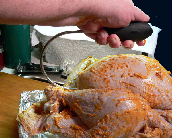 Turkey BBQ, poultry lifter.