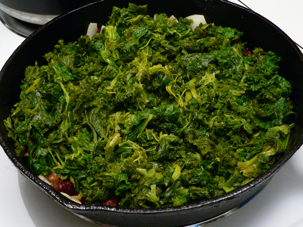 Mustard Greens Recipe, add the mustard greens.