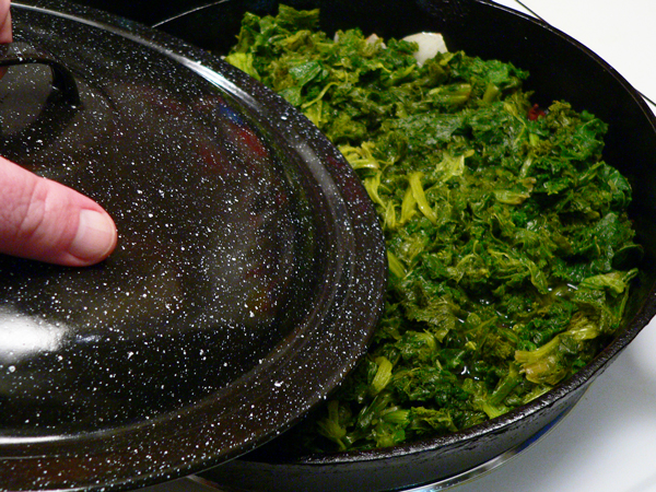 Mustard Greens Recipe, cover, reduce heat and simmer.