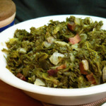 Southern style Mustard Greens recipe, as seen on Taste of Southern.