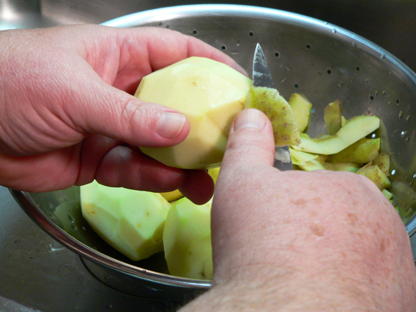Potato Soup, wash and peel the potatoes