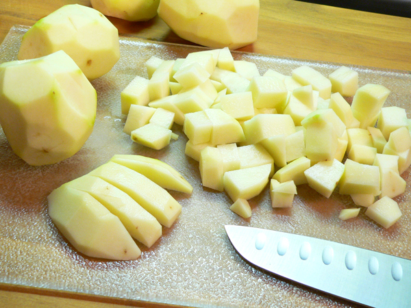 Potato Soup, cube the potatoes.
