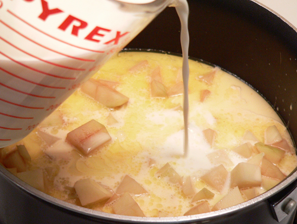 Potato Soup, add the whole milk.