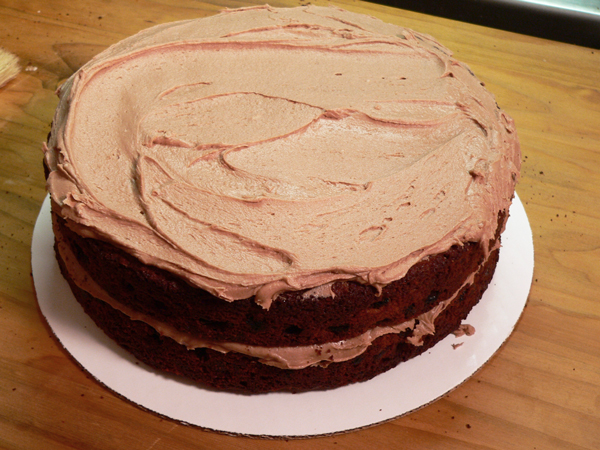 Canadian War Cake Recipe, icing on second layer.