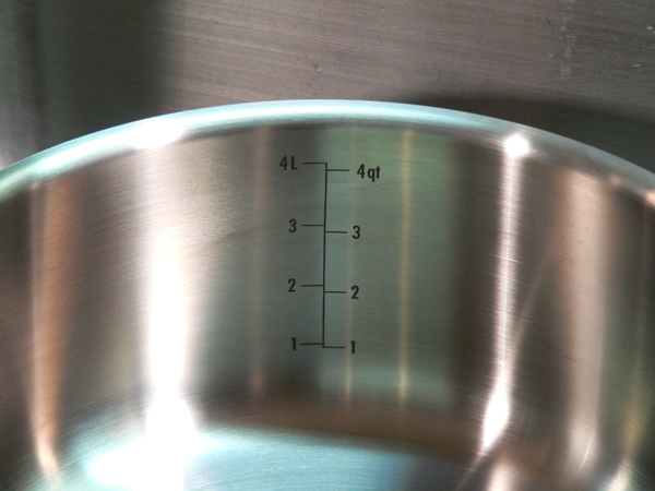 Chicken and Rice, measurement guides in the OXO pot.