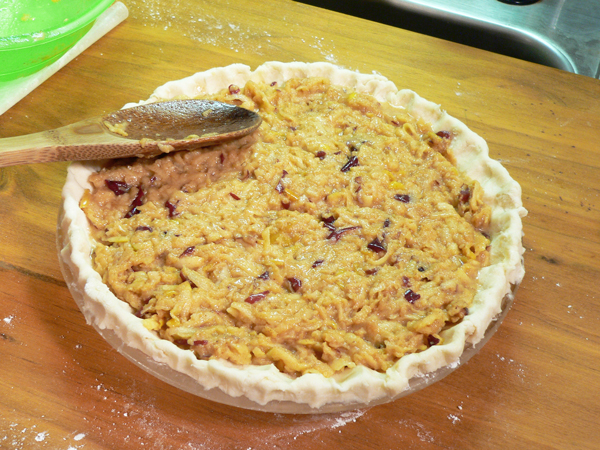 Grated Apple Pie, add the filling.