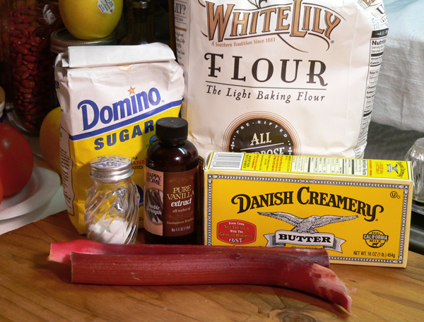 Rhubarb Pie, ingredients for the filling.