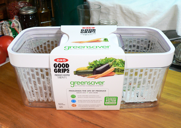 Rhubarb Pie, the OXO Greensaver produce keeper box.