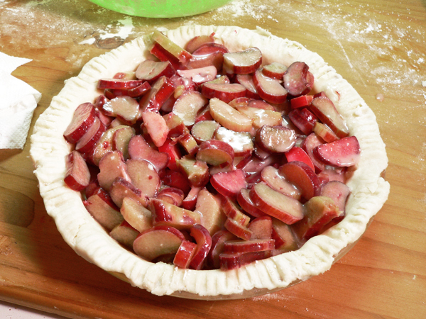 Rhubarb Pie, add filling.