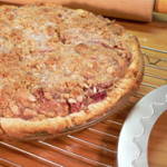 Rhubarb Pie recipe, with Crumble Topping, as seen on Taste of Southern.