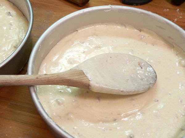 Butter Pecan Cake, divide batter between the pans.