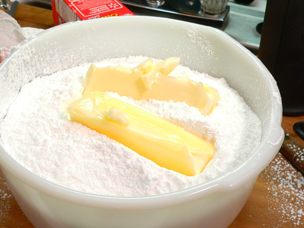 Butter Pecan Cake, add the butter.