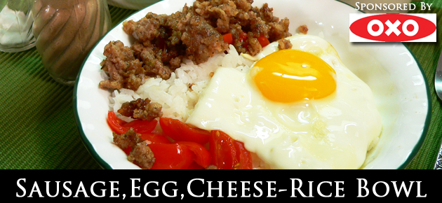 Quick and easy: Sausage, Egg, Cheese, Rice Bowl recipe.