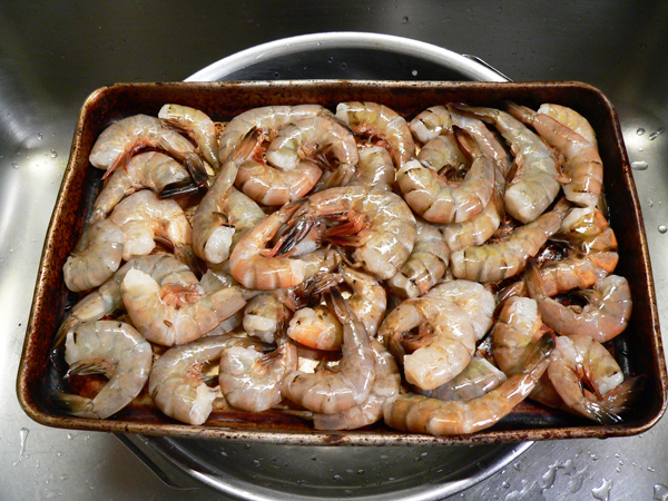 Shrimp Creole, ready to quick freeze.