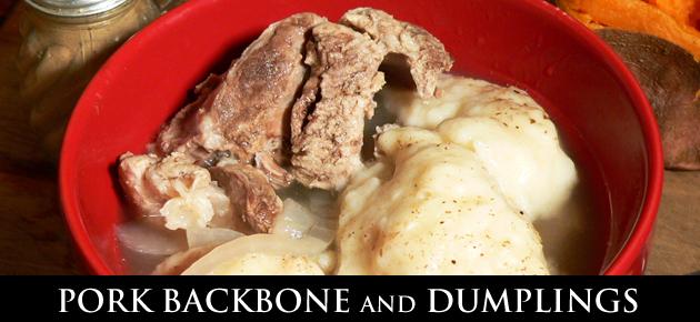 Pork Backbone with Dumplings recipe, as seen on Taste of Southern.