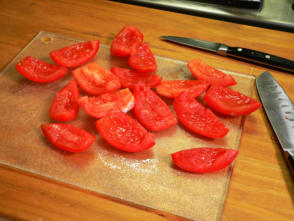 Country BLT Dip, remove the seeds from the tomatoes.