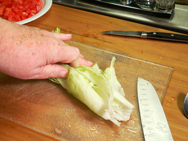 Country BLT Dip, slice the rolled up leaves lengthwise.