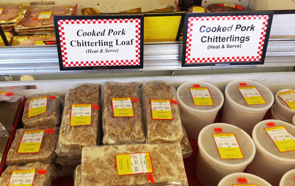 Chitlin Loaf, display at Nahunta Pork Center.