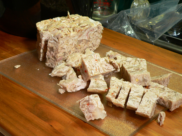 Chitlin Loaf, cut the slices into cubes.