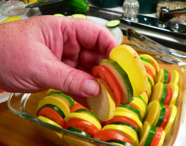 Vegetable Casserole, stack the vegetables.