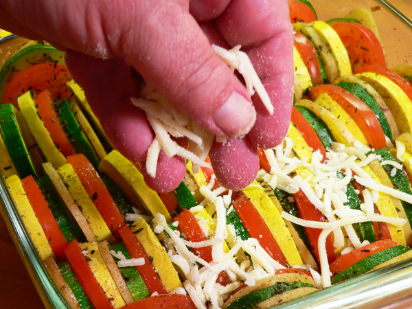 Vegetable Casserole, add the cheese.