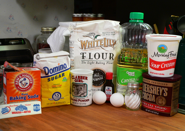 Chocolate Sour Cream Cupcakes, you'll need these ingredients.