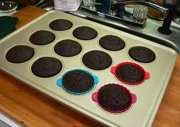 Chocolate Sour Cream Cupcakes, cool in pan for five minutes.