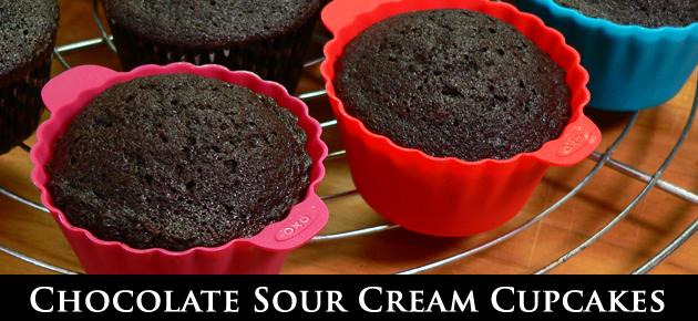 Chocolate Sour Cream Cupcakes, slider.