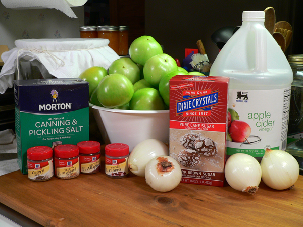 Pickled Green Tomatoes, you'll need these ingredients.