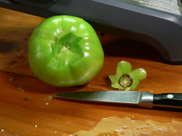 Pickled Green Tomatoes, remove the core.