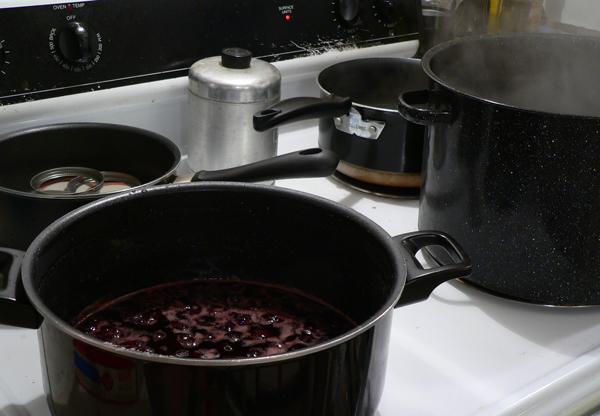 Cherry Preserves, stove setup.