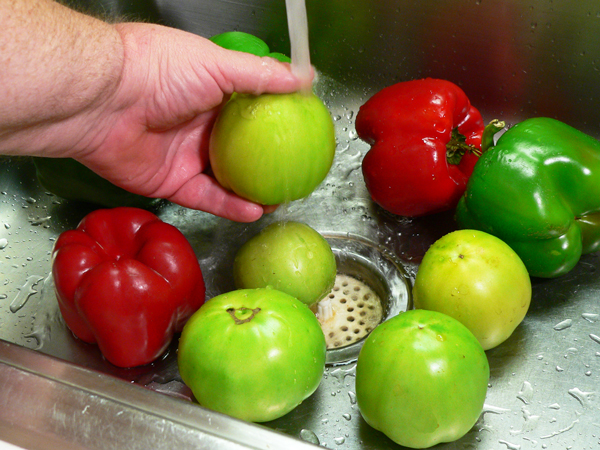Chow Chow Relish, begin by washing your vegetables.