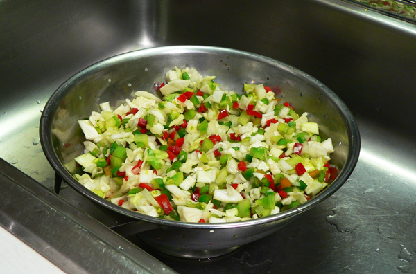 Chow Chow Relish, drain the mixture.