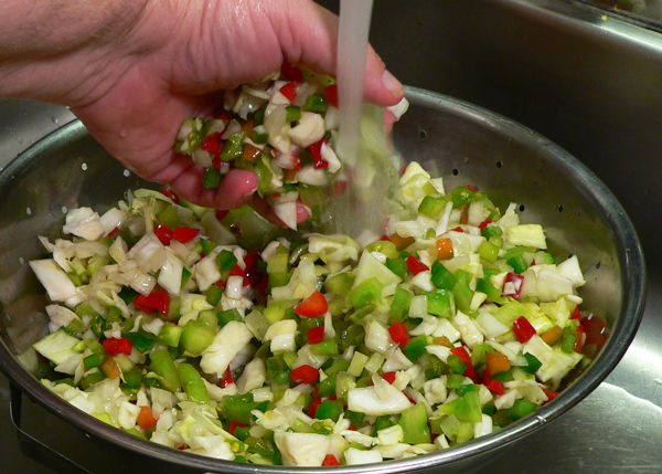Chow Chow Relish, rinse and drain again.
