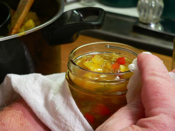 Chow Chow Relish, clean the jar rim.