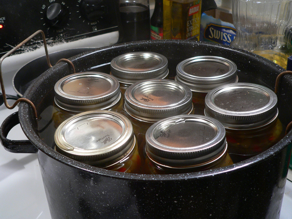 Chow Chow Relish, jars ready to be water bath processed.