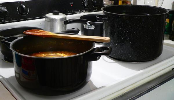 Citrus-Marmalade, stove setup for canning.