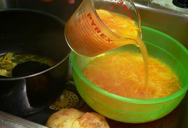 Citrus Marmalade, measure the fruit and the liquid.