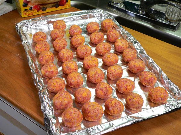 Sausage Balls, place on a foil lined baking sheet.