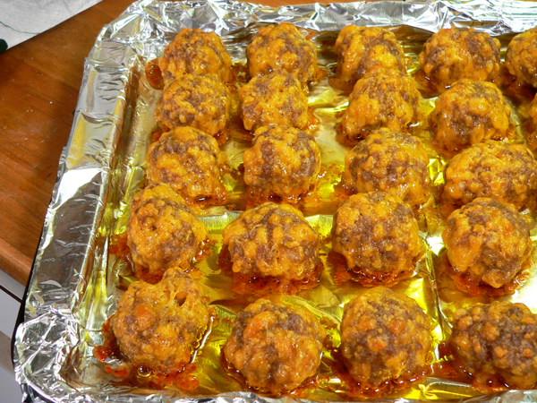 Sausage Balls, remove when done.
