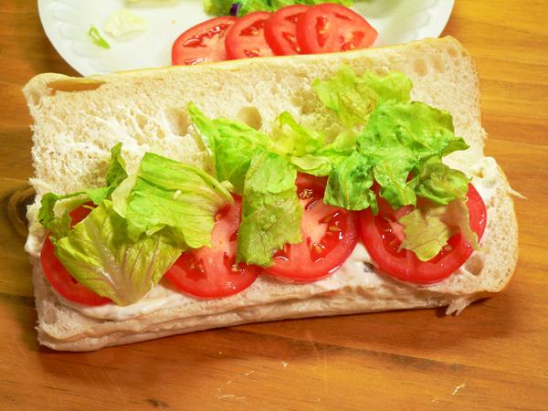 Soft Shell Crab, add a little lettuce.