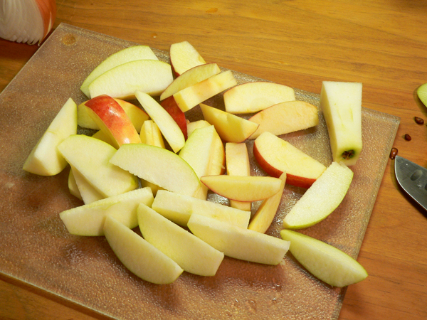 Roasted Pork Tenderloin, remove the apple core and slice the apple.