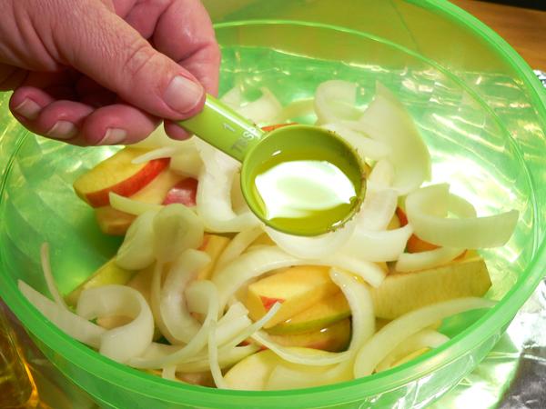 Roasted Pork Tenderloin, add some olive oil.