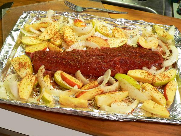 Roasted Pork Tenderloin, spread around the tenderloin.
