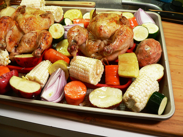 Cornish Hens, add the vegetables to the sheet pan.