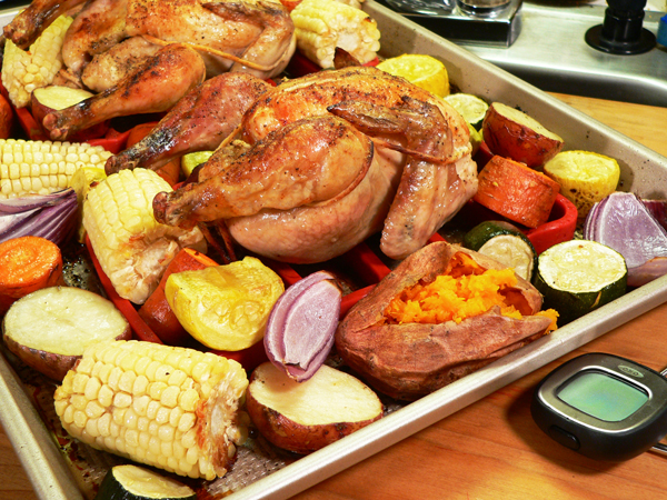 Cornish Hens, a sheet pan dinner as seen on Taste of Southern.