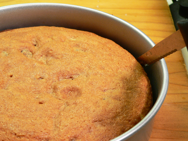 Japanese Fruitcake, run a knife around the inside of the layer pan to loosen the layer.