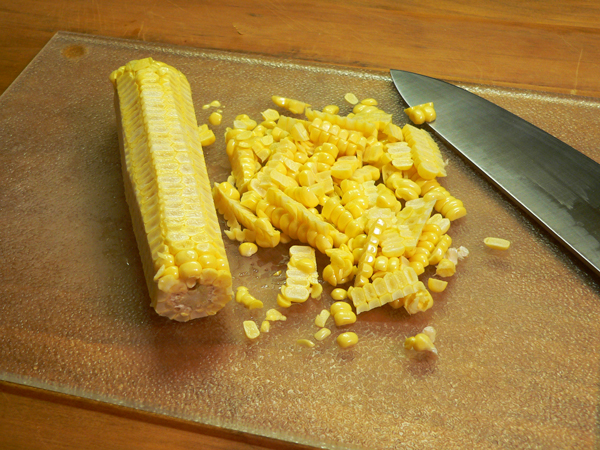 Corn Pudding, cut corn from the cob.
