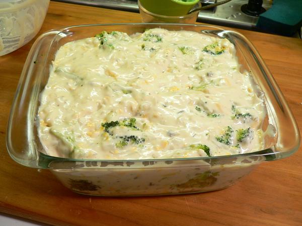 Broccoli Casserole, pour over the broccoli.
