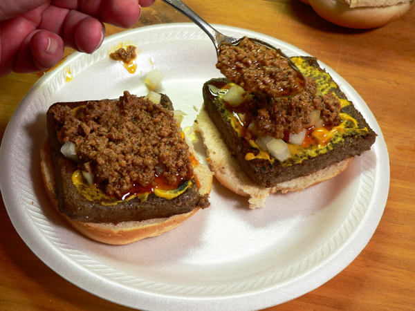 Livermush Sandwich, add the chili.